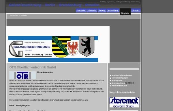 Vorschau von www.galvaniseurinnung.de, OTR Oberflächentechnik GmbH