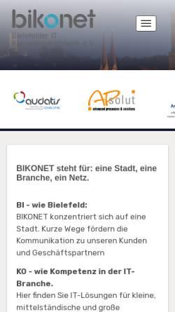 Vorschau der mobilen Webseite www.bikonet.de, Bielefelder IT-Kompetenznetzwerk e.V.