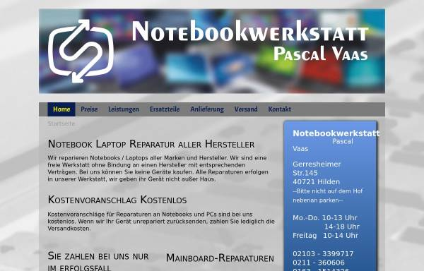Vorschau von www.notebook-reparaturdienst.de, Notebookwerkstatt Düsseldorf