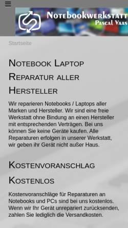 Vorschau der mobilen Webseite www.notebook-reparaturdienst.de, Notebookwerkstatt Düsseldorf
