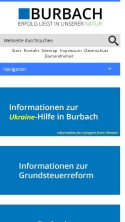 Vorschau der mobilen Webseite www.burbach-siegerland.de, Burbach