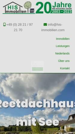 Vorschau der mobilen Webseite www.his-immobilien.com, Klever Immobilien-Center HIS Immobilien GmbH