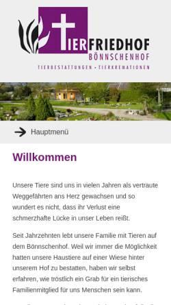Vorschau der mobilen Webseite www.boennschenhof.de, Tierfriedhof Bönnschenhof
