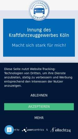 Vorschau der mobilen Webseite www.kfz-innungkoeln.de, Innung des Kraffahrzeuggewerbes Köln