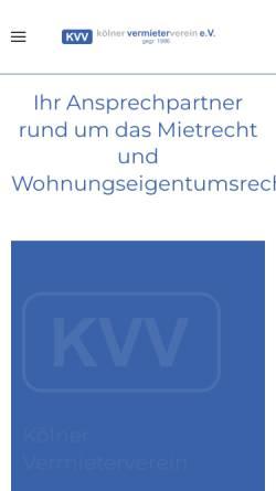Vorschau der mobilen Webseite www.koelner-vermieterverein.de, Kölner Vermieter Verein e.V.