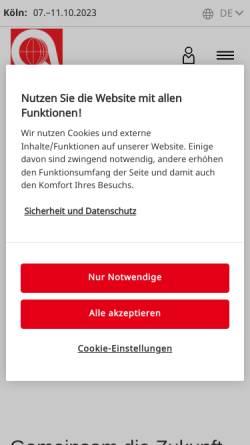 Vorschau der mobilen Webseite www.anuga.de, Anuga | Kölnmesse GmbH