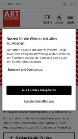 Vorschau der mobilen Webseite www.artcologne.de, Art Cologne - Internationaler Kunstmarkt