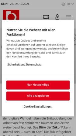 Vorschau der mobilen Webseite www.orgatec.de, Orgatec | Kölnmesse GmbH