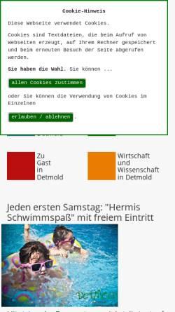 Vorschau der mobilen Webseite www.detmold.de, Detmold