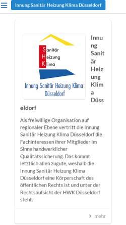 Vorschau der mobilen Webseite www.shk-duesseldorf.de, Innung Sanitär- und Heizungstechnik