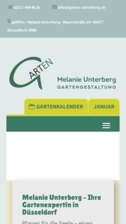Vorschau der mobilen Webseite www.garten-unterberg.de, Gartengestaltung - Melanie Unterberg