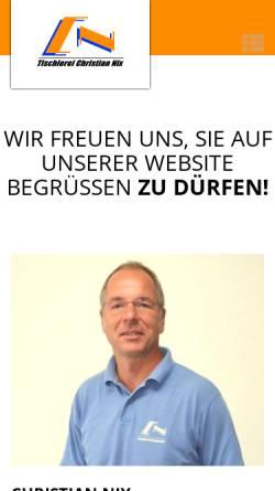 Vorschau der mobilen Webseite www.tischlerei-nix.de, Tischlerei Christian Nix