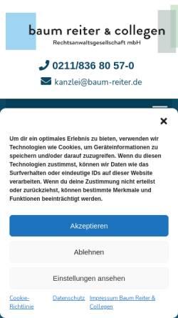 Vorschau der mobilen Webseite www.baum-reiter.de, Rechtsanwälte Baum, Reiter & Collegen