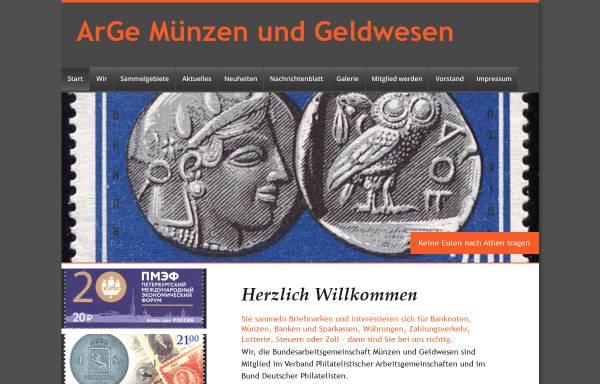 Vorschau von www.arge-geld.de, Arbeitsgemeinschaft Münzen und Geldwesen