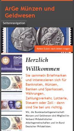 Vorschau der mobilen Webseite www.arge-geld.de, Arbeitsgemeinschaft Münzen und Geldwesen