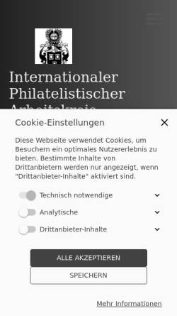 Vorschau der mobilen Webseite www.arge-heraldik.de, Internationaler Philatelistischer Arbeitskreis Heraldik e. V.