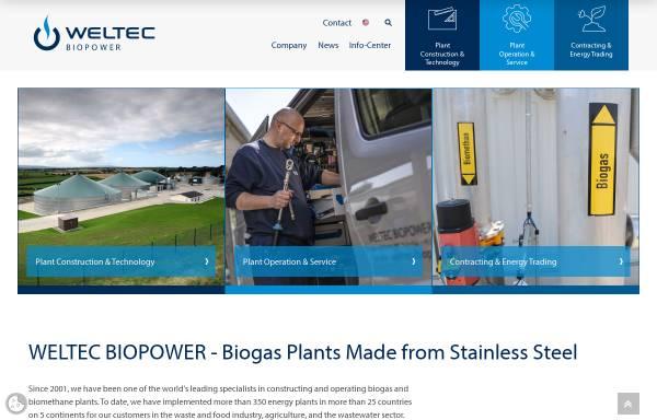 Vorschau von www.weltec-biopower.de, Biogasanlagen WELtec BioPower GmbH
