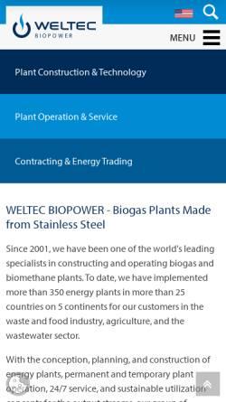 Vorschau der mobilen Webseite www.weltec-biopower.de, Biogasanlagen WELtec BioPower GmbH