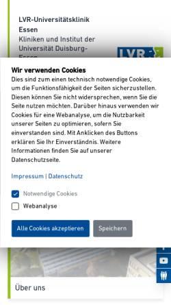 Vorschau der mobilen Webseite www.klinikum-essen.lvr.de, Rheinische Kliniken Essen