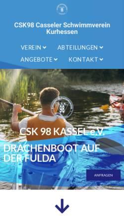 Vorschau der mobilen Webseite www.csk98.de, Casseler Schwimmverein Kurhessen von 1898 e.V.