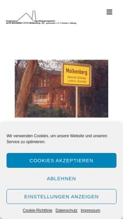 Vorschau der mobilen Webseite www.alte-molkerei-molkenberg.de, Alte Molkerei Molkenberg