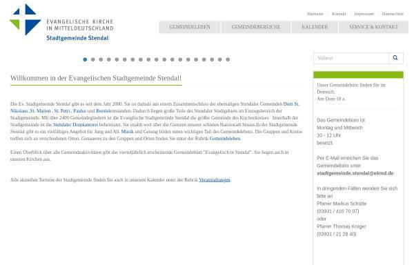 Vorschau von www.stadtgemeinde-stendal.de, Evangelische Stadtgemeinde Stendal