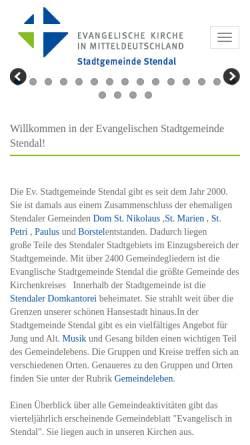 Vorschau der mobilen Webseite www.stadtgemeinde-stendal.de, Evangelische Stadtgemeinde Stendal