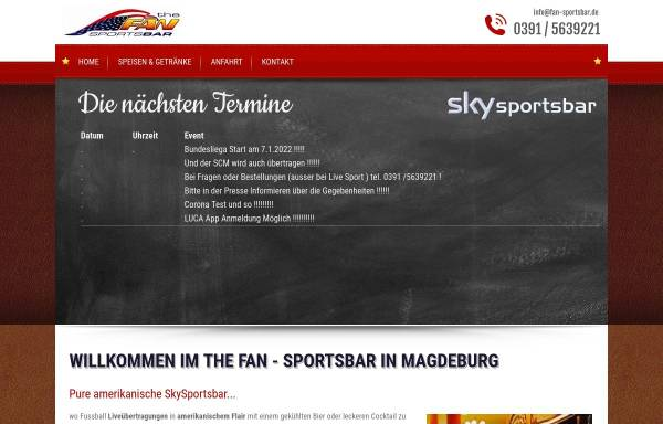 Vorschau von www.fan-sportsbar.de, The Fan