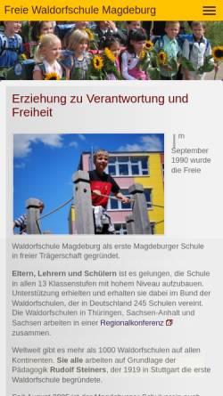 Vorschau der mobilen Webseite www.waldorfschule-magdeburg.de, Freie Waldorfschule Magdeburg