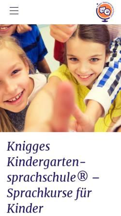 Vorschau der mobilen Webseite www.lingua.derknigge.de, Knigges Kindergartensprachschule