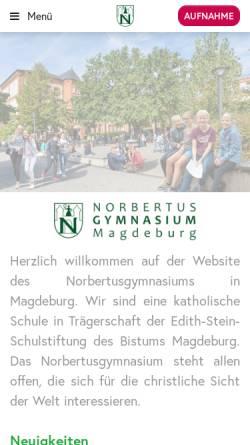 Vorschau der mobilen Webseite www.norbertus.de, Norbertusgymnasium zu Magdeburg
