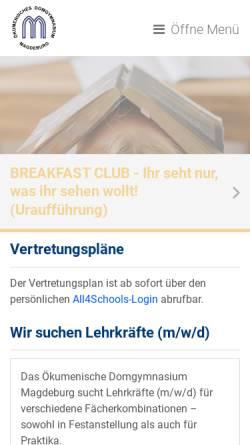 Vorschau der mobilen Webseite www.domgymnasium-magdeburg.de, Ökumenisches Domgymnasium Magdeburg
