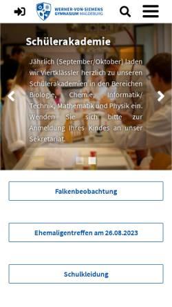 Vorschau der mobilen Webseite siemens.md.st.schule.de, Werner-von-Siemens-Gymnasium Magdeburg