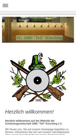 Vorschau der mobilen Webseite www.tell-koesching.de, Schützengesellschaft 1880 Tell Kösching e.V.