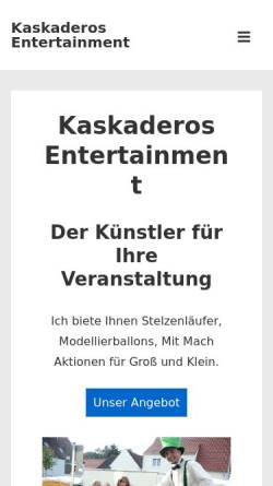 Vorschau der mobilen Webseite www.kaskaderos-entertainment.de, Kaskaderos Entertaiment Ingo Hoffmann