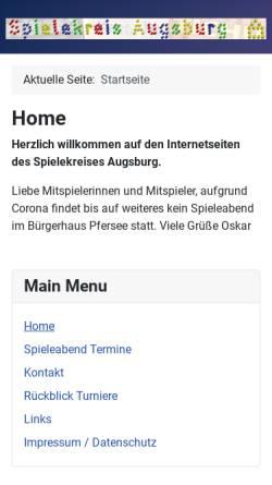 Vorschau der mobilen Webseite www.spielekreis-augsburg.de, Spielekreis Augsburg