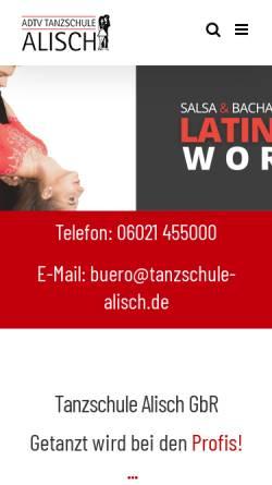 Vorschau der mobilen Webseite www.tanzschule-alisch.de, Tanzschule Alisch