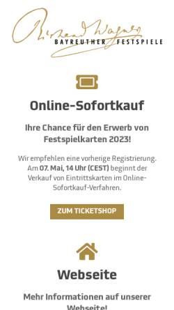 Vorschau der mobilen Webseite www.bayreuther-festspiele.de, Bayreuther Festspiele