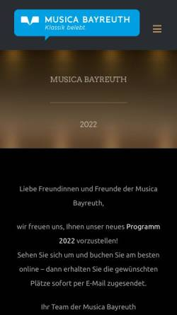 Vorschau der mobilen Webseite www.musica-bayreuth.de, Musica Bayreuth
