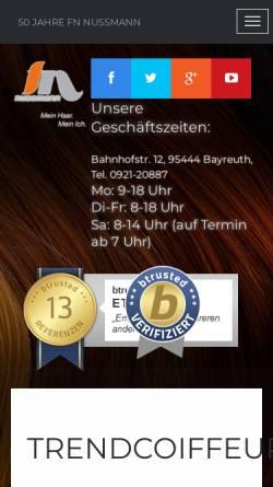 Vorschau der mobilen Webseite friseur-nussmann.de, Salon Nussmann