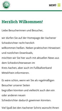 Vorschau der mobilen Webseite www.schiris-aachen.de, Kreisschiedsrichterausschuss Aachen