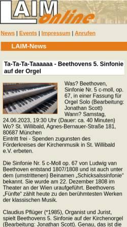 Vorschau der mobilen Webseite www.laim-online.de, LAIM online