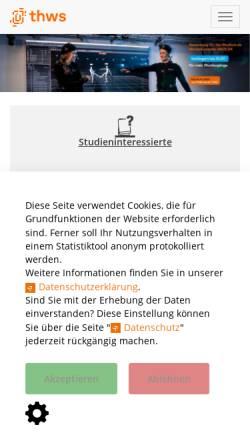 Vorschau der mobilen Webseite www.fh-wuerzburg.de, FH Würzburg-Schweinfurt - Rechenzentrum der Abteilung Würzburg