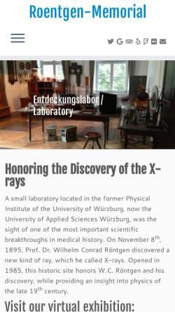 Vorschau der mobilen Webseite www.wilhelmconradroentgen.de, Röntgen-Gedächtnisstätte Würzburg