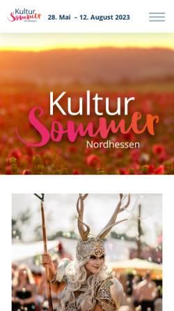 Vorschau der mobilen Webseite www.kultursommer-nordhessen.de, Kultursommer Nordhessen