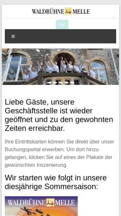 Vorschau der mobilen Webseite www.waldbuehne-melle.de, Waldbühne Melle e.V.