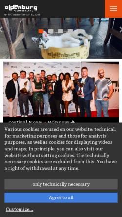 Vorschau der mobilen Webseite www.filmfest-oldenburg.de, Filmfest Oldenburg