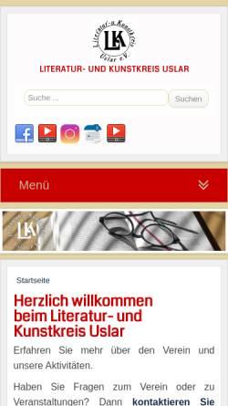 Vorschau der mobilen Webseite www.literatur-kunstkreis-uslar.de, Literatur- und Kunstkreis Uslar e.V.