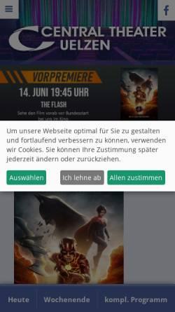Vorschau der mobilen Webseite www.central-theater-uelzen.de, Central-Theater Uelzen