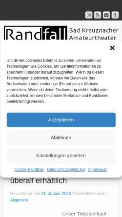 Vorschau der mobilen Webseite www.randfall-productions.de, Theaterverein Randfall Productions e.V.
